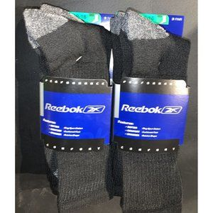 Reebok Men's Black Crew Socks Big & Tall - 6 Pair